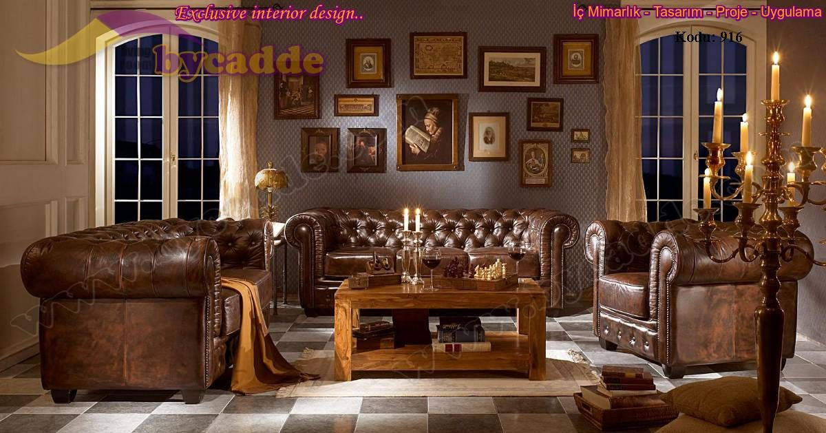 Hakiki deri orjinal ngiliz chester koltuk tak m bycadde for Decoracion estilo ingles