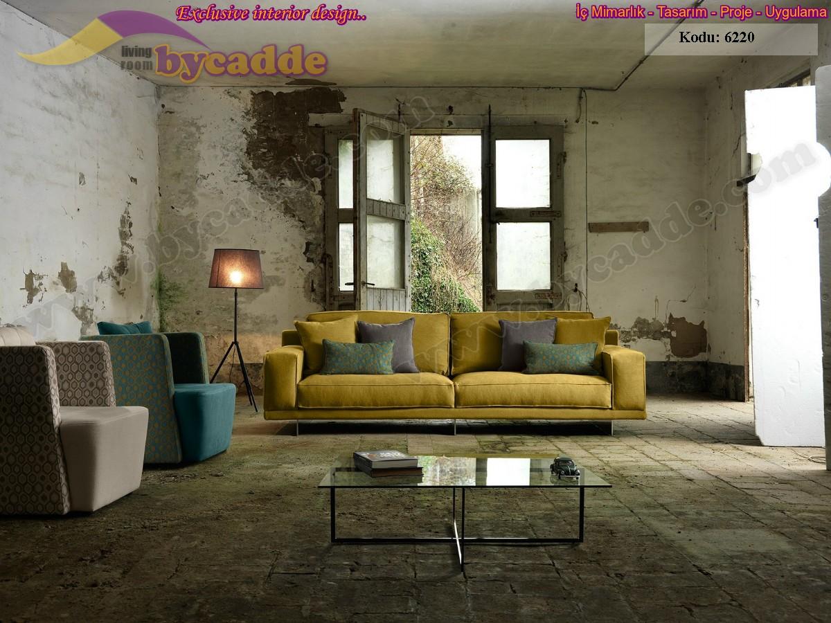 Hardal Sarısı Modern Kanepe Üçlü Koltuk Dekorasyon