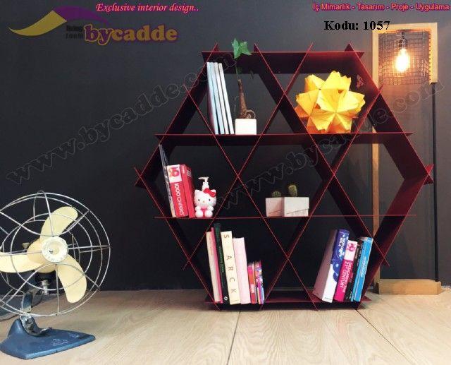 Hexagon Kitaplık Dekoratif Modern Kitaplık