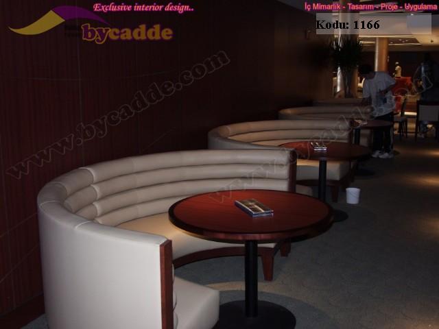 Modern Deri Yarı Çember Restoran Cafe Koltuk