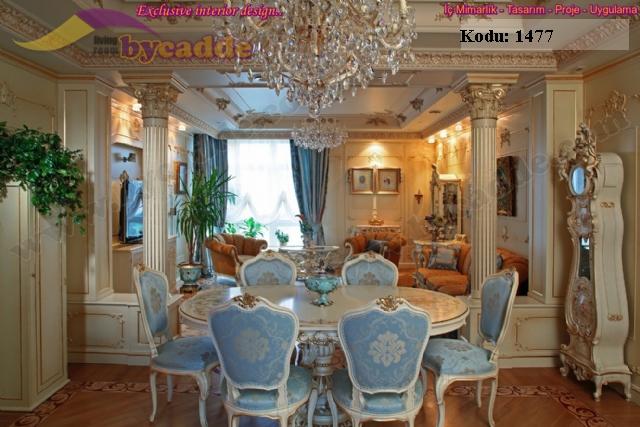 Yuvarlak Klasik Yemek Masası Ve Sandalye Pentür Cilalı