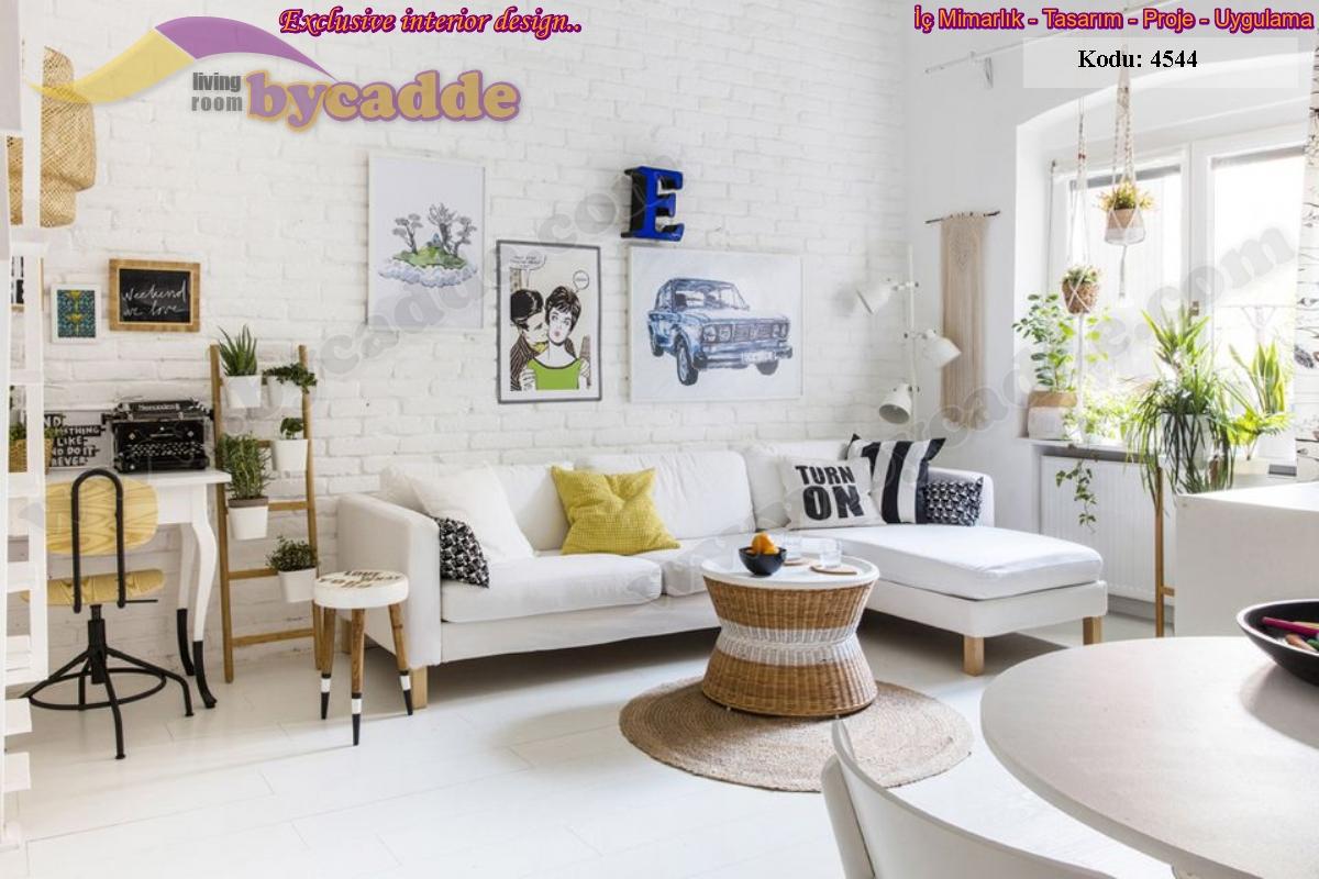 Beyaz Modern Köşe Kotluk Takımı Oturma Odası Tasarımı