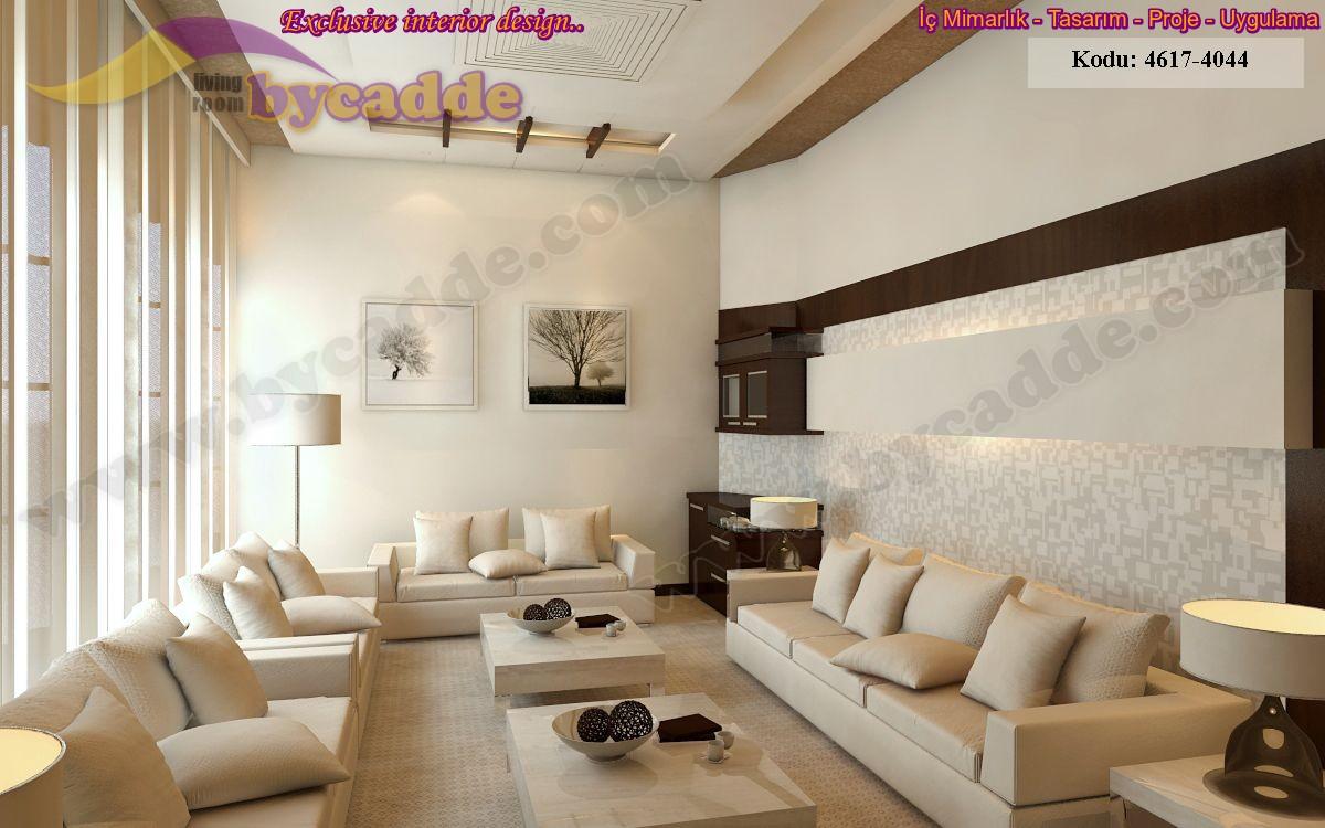 Beyaz Modern Salon Oturma Odası Tasarımı