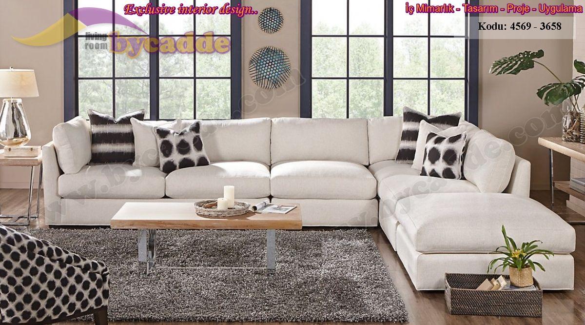 Beyaz Oturma Odası L Köşe Koltuk Takımı Tasarımı