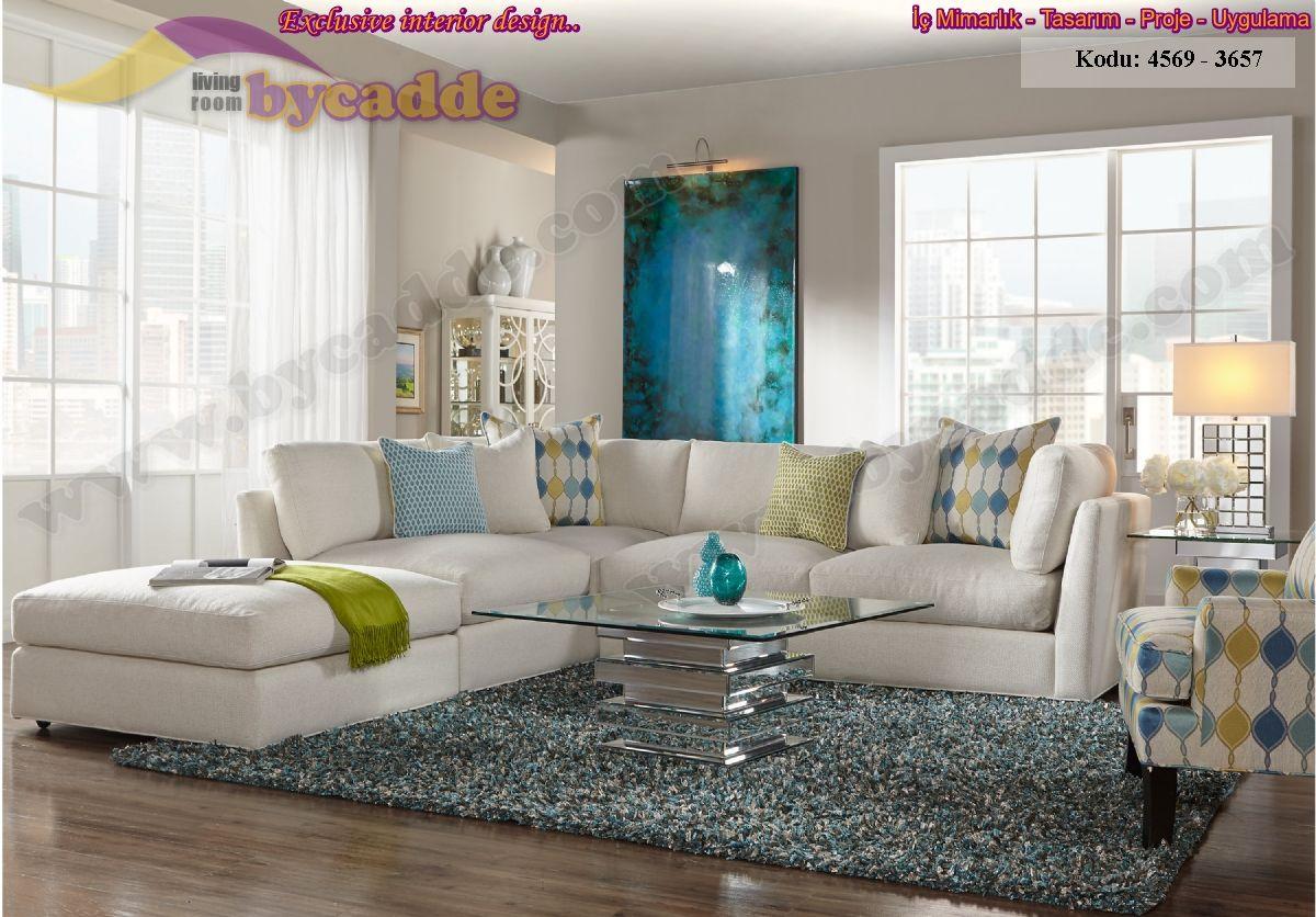 Beyaz Oturma Odası Tasarımı L Köşe Koltuk Takımı