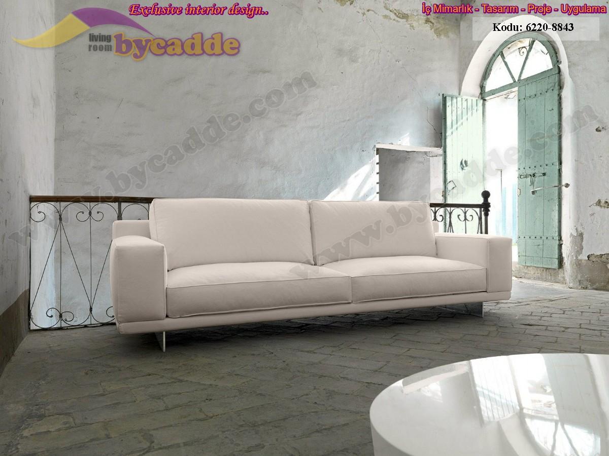 Beyaz Üçlü Koltuk Modern Lüks Tasarım