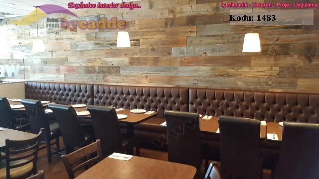 Cafe Sedir Koltuk Parlak Deri Kapitoneli