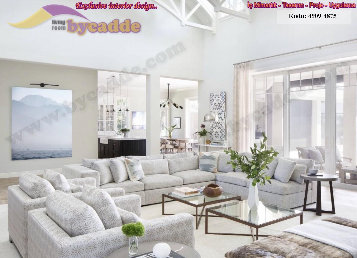 Geniş Modern Lüks Salon Köşe Koltuk Dekorasyonu