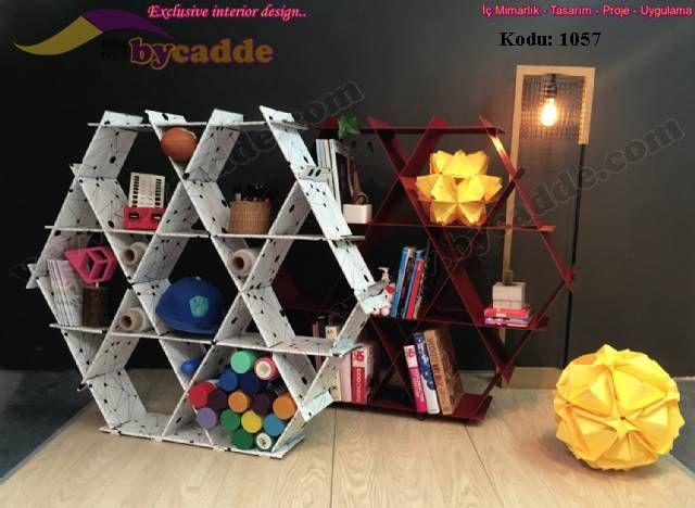 Hexagon Altıgen Kitaplık Raf Tasarımı