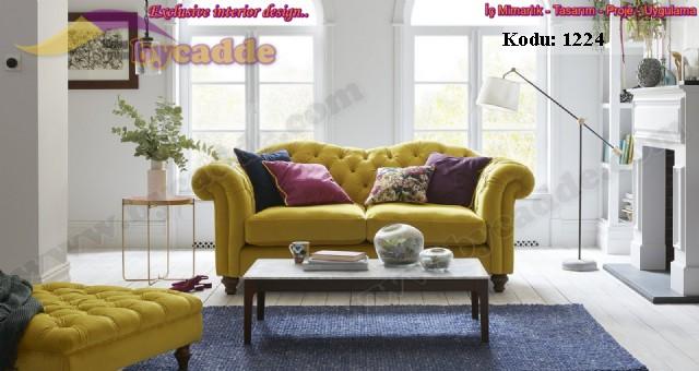 Kadife Sarı Chester Koltuk