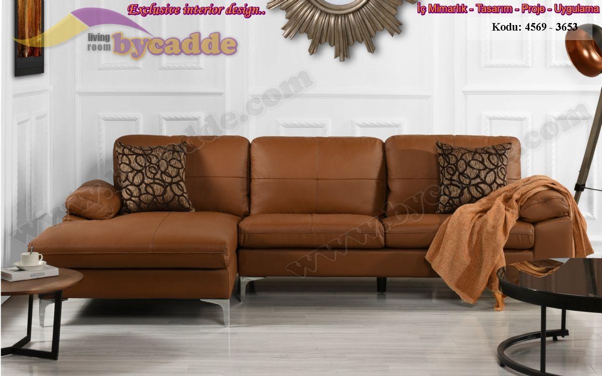 Kahverengi L Köşe Koltuk Takımı Oturma Odası L Koltuk Dekorasyonu