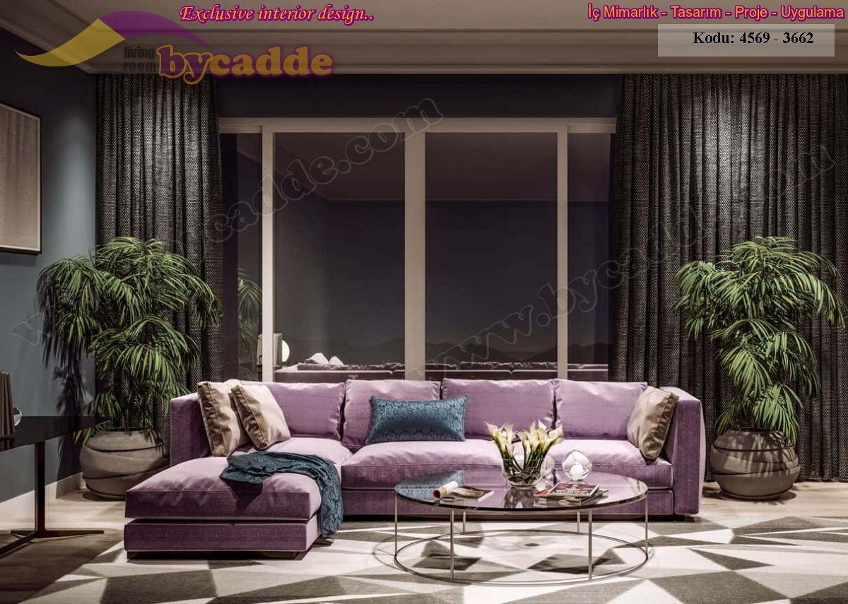 Lila Renk L Köşe Koltuk Takımı Oturma Odası Koltuk Dekorasyonu