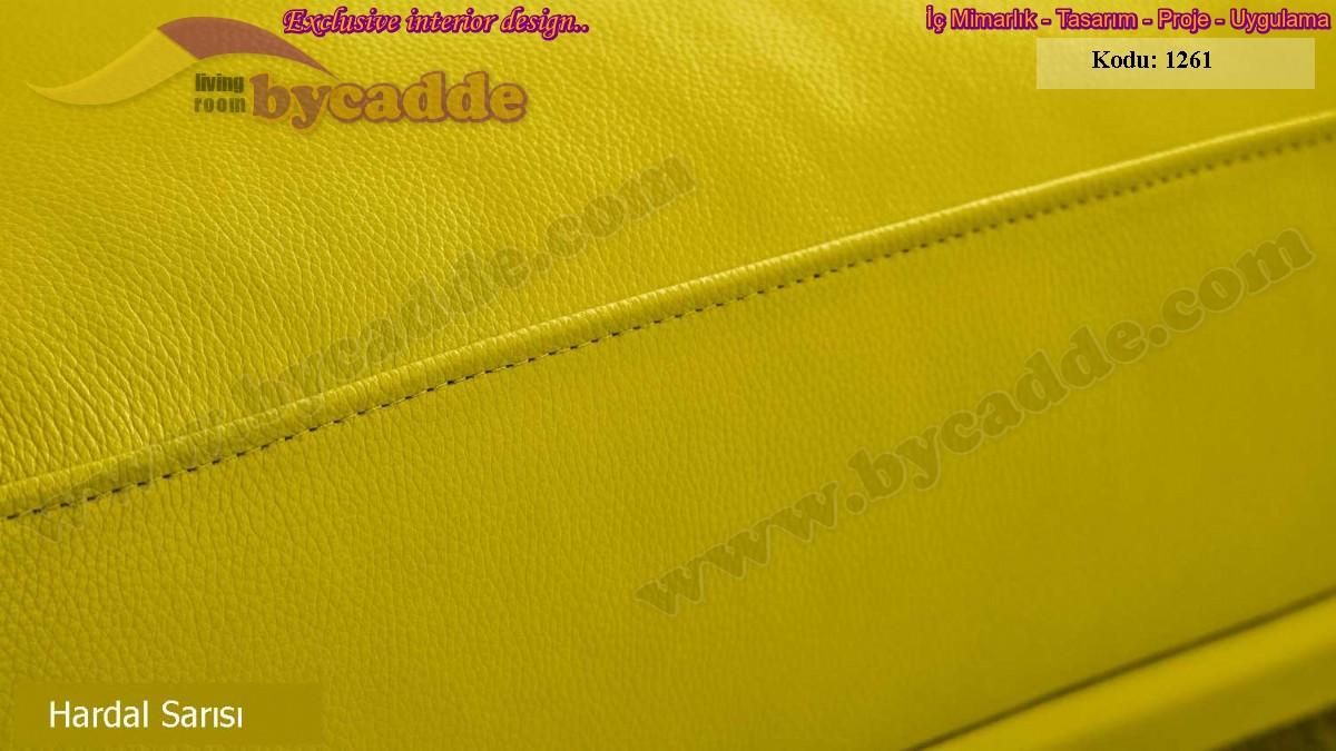 Lüks Model Chester Koltuk Takımı Hardal Sarısı