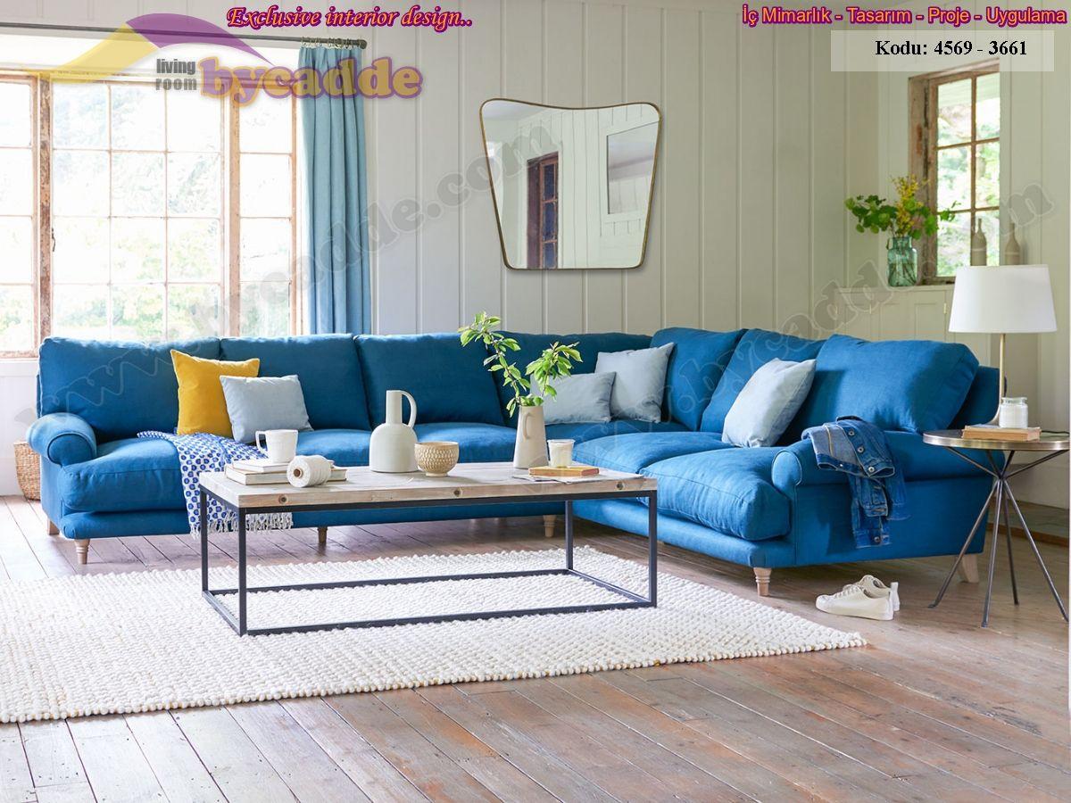 Mavi L Köşe Koltuk Takımı Oturma Odası Dekorasyonu