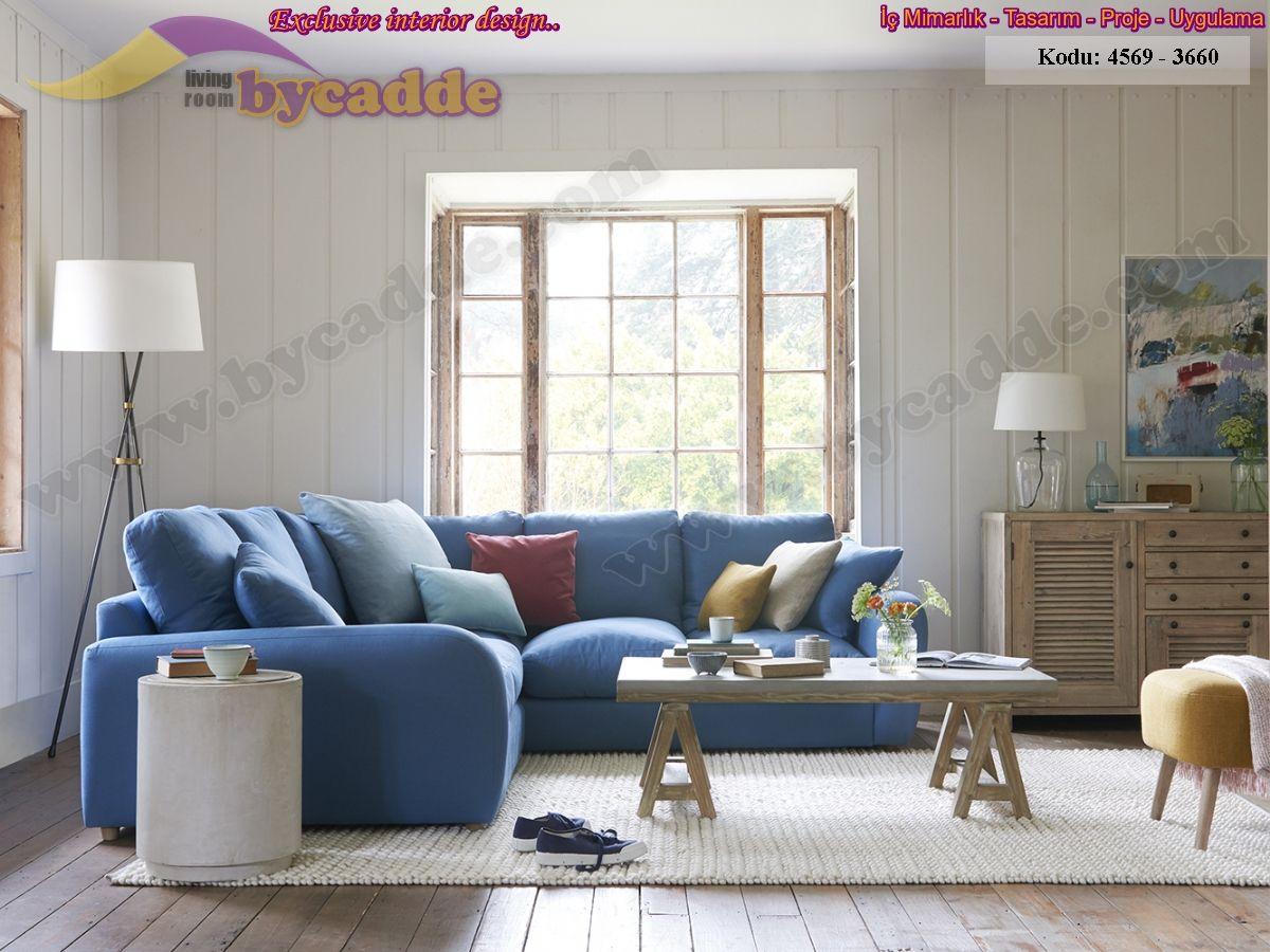Mavi Oturma Odası L Köşe Koltuk Takımı