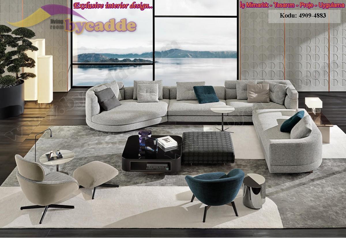 Modern Lüks Salon Köşe Takımı Dekorasyonu