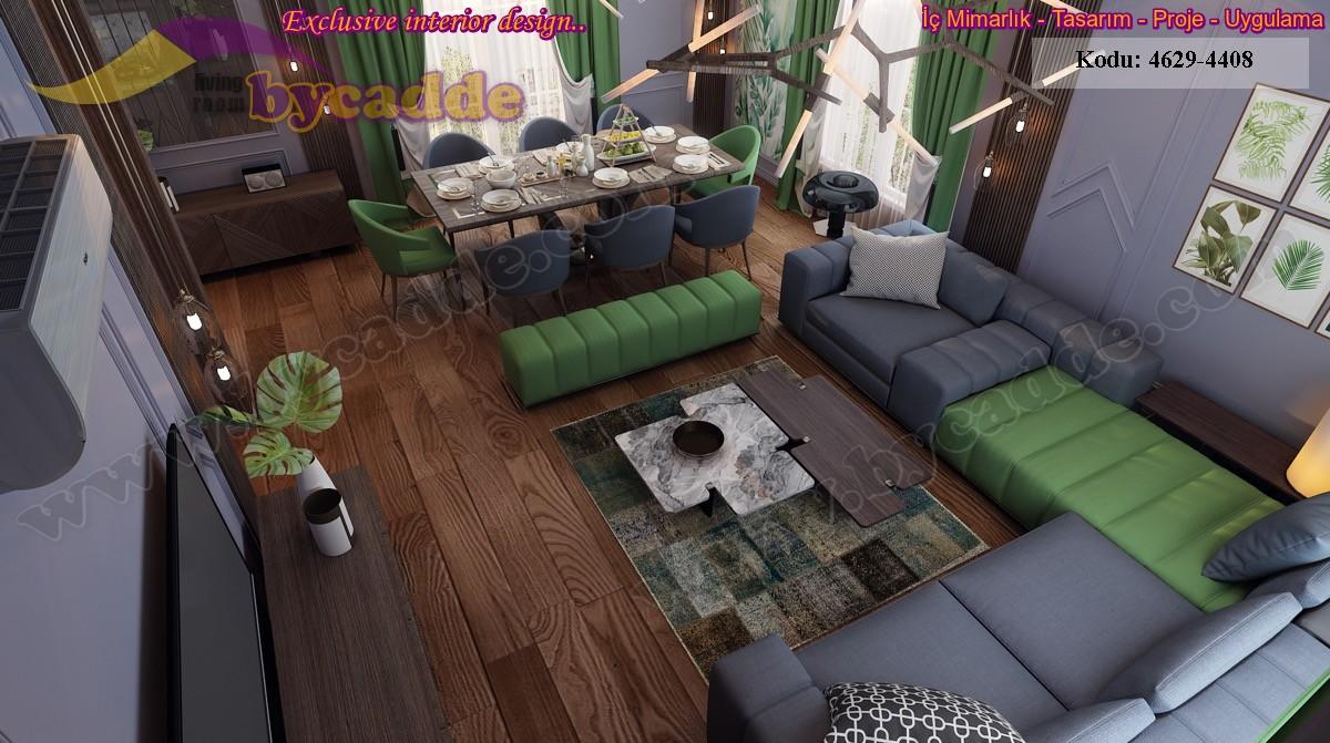 Modern Luxury Oturma Odası Dilimli Koltuk Tasarımı