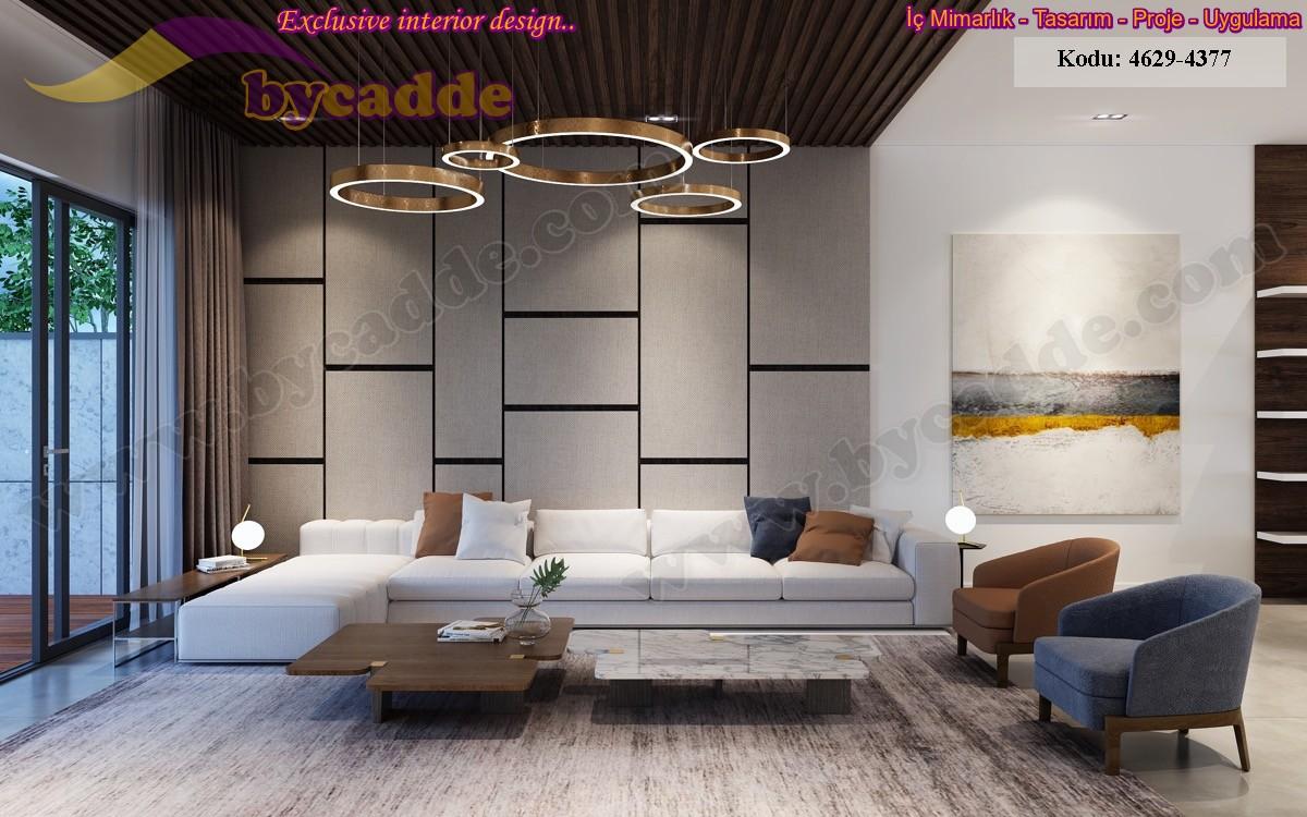 Modern Oturma Odası Dekorasyonu Köşe Koltuk