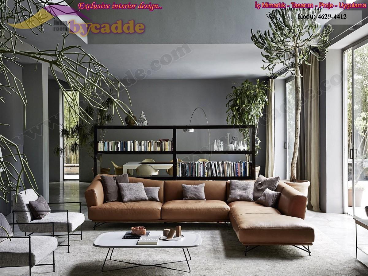 Modern Oturma Odası Hakiki Deri Köşe Koltuk
