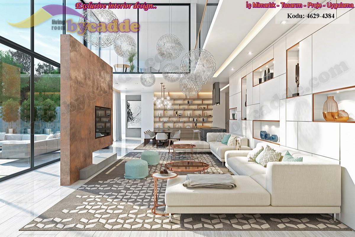 Modern Oturma Odası Köşe Koltuk Takımı Ve Kitaplık