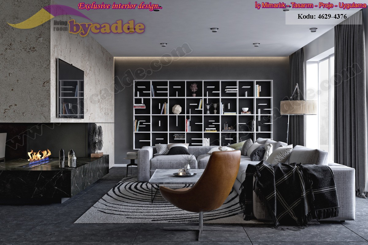 Modern Oturma Odası Köşe Takımı Ve Kitaplık