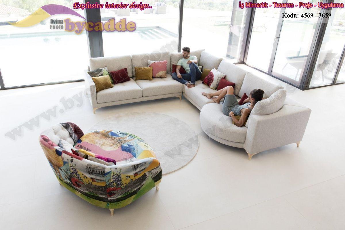 Modern Oturma Odası L Köşe Koltuk Tasarımı