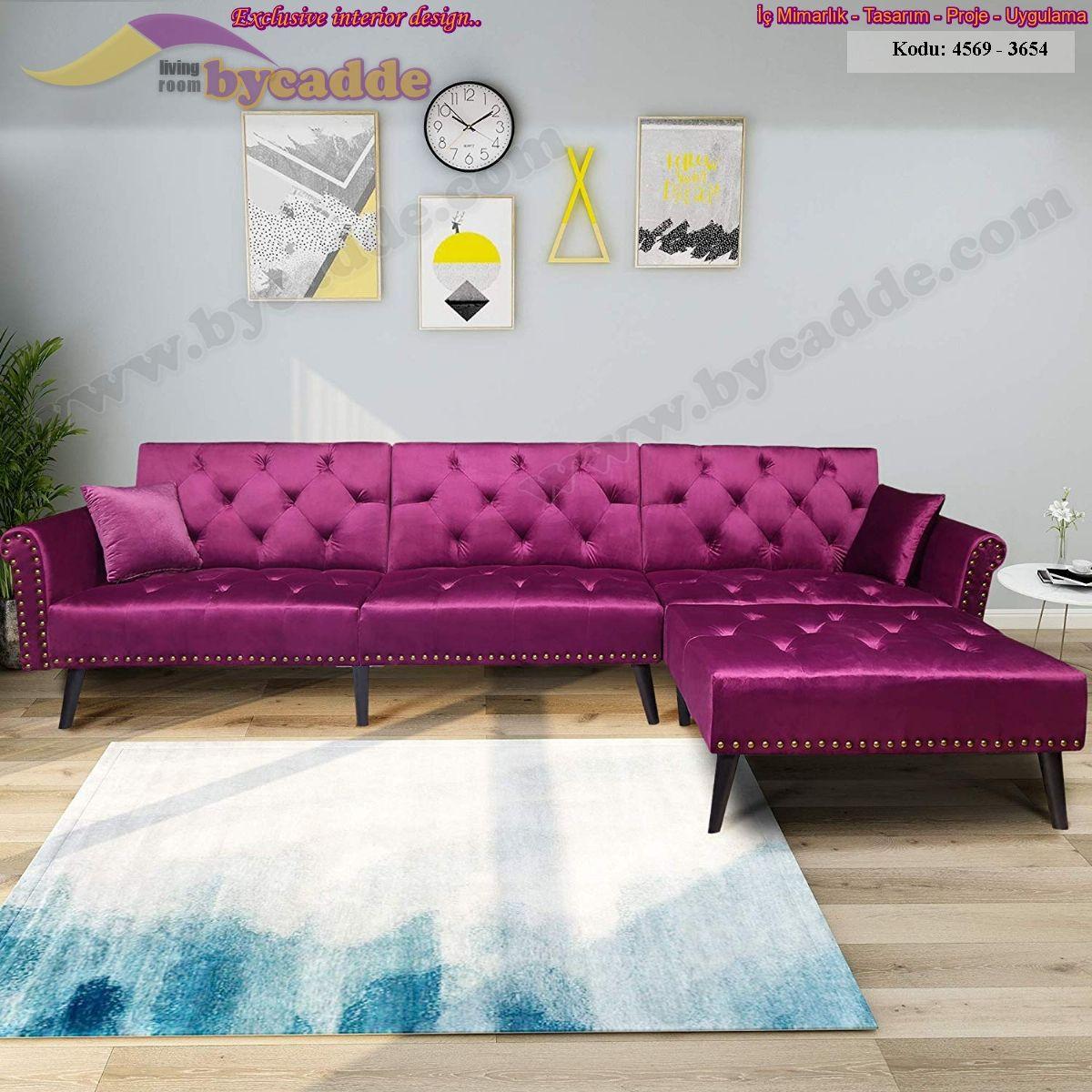 Mor Parlak Kadife L Köşe Koltuk Takımı Modern Oturma Odası Dekorasyonu