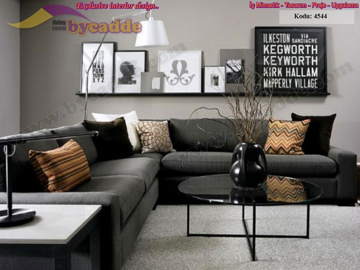 Oturma Odası Antrasit Keten Modern Köşe Koltuk Takımı