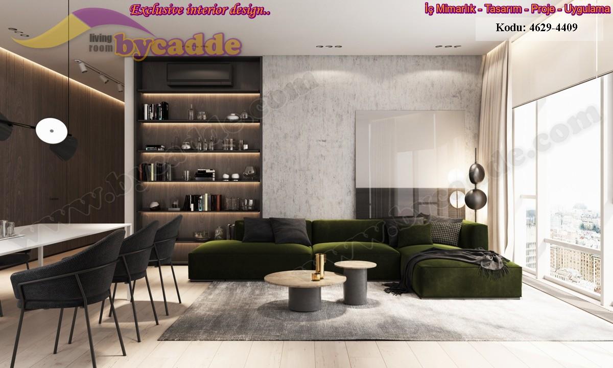 Oturma Odası Yeşil Kadife Modern Minder Köşe Koltuk Tasarımı