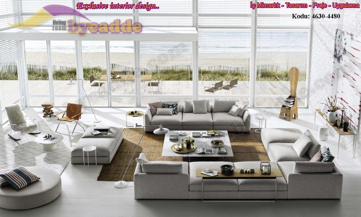 Özel Tasarım Yazlık Villa Oturma Odası Koltuk Köşe Takımı