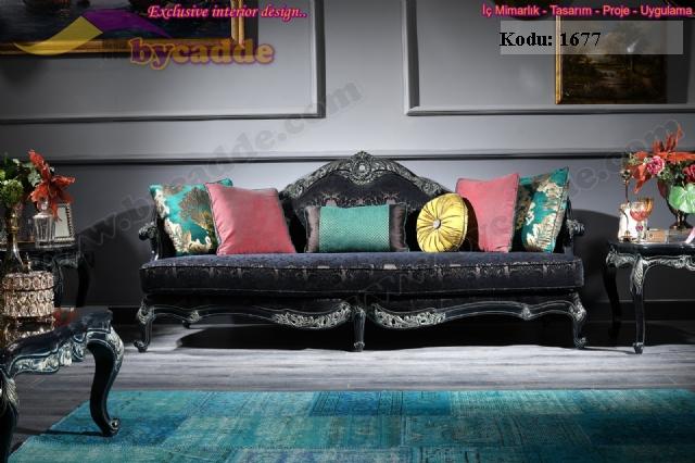 Saray Klasik Koltuk Siyah Kanepe