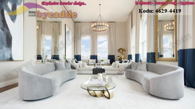 Lüks Modern Oturma Odası Salon Tasarımı Koltuk Takımı
