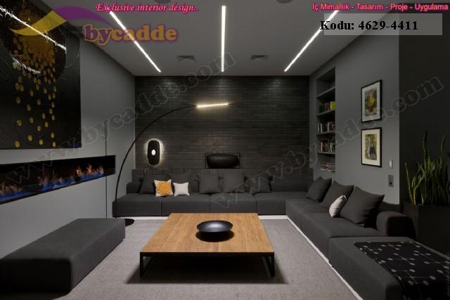Oturma Odası Duvardan Duvara Köşe Koltuk Tasarımı