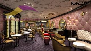 Cafe Restaurant Tasarımı Sedir Masa Sandalye Berjer Duvar Kaplama