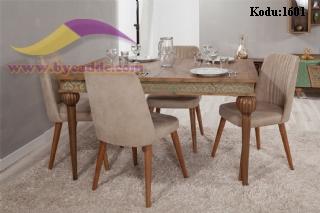 Desenli Açılır Yemek Masası Ve Sandalye Vezir Masa