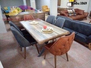 Retro Yemek Masası Ve 6 Adet Sandalyeler
