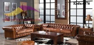 Taba Renk Deri Chester Koltuk Takımı Ev Ofis Otel